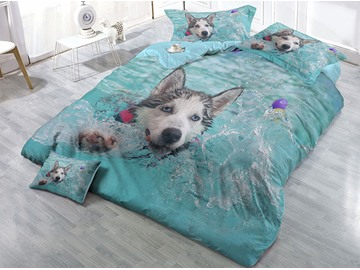Husky Playing in the Water Printed 4-Piece 3D Bedding Sets/Duvet Covers