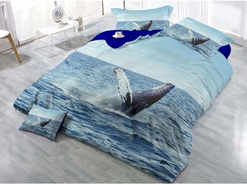 Sea Lion and Ocean Printed 4-Piece Cotton 3D Bedding Sets/Duvet Covers