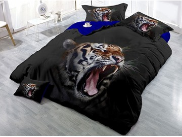 Tiger Open its Mouth Black Printed Cotton 4-Piece 3D Bedding Sets/Duvet Covers