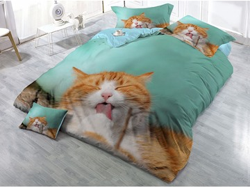 Sleeping Yellow Cat Printed 4-Piece Cotton 3D Bedding Sets/Duvet Covers