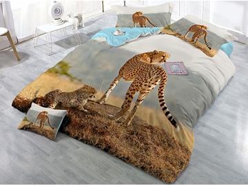 Leopard Family Printed 4-Piece 3D Cotton Bedding Sets/Duvet Covers