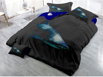Black Shark Printed 4-Piece 3D Cotton Bedding Sets/Duvet Covers