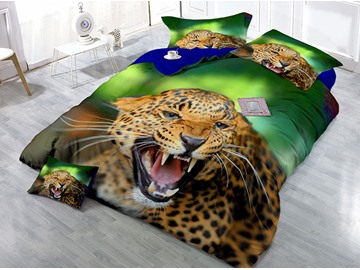 Leopard Opens its Mouth Printed Cotton 4-Piece 3D Bedding Sets/Duvet Covers