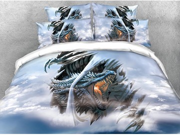 Dragon Hovering in the Sky Printed 4-Piece 3D Bedding Sets/Duvet Covers