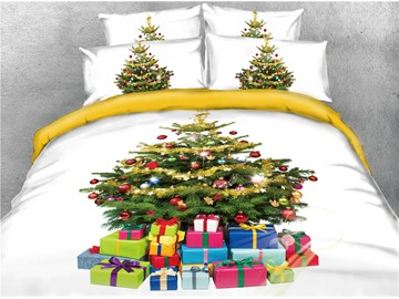 Christmas Tree and Presents Printed 4-Piece 3D Bedding Sets/Duvet Covers