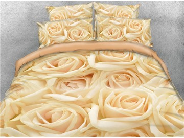 Luxurious Golden Roses Printed 4-Piece 3D Bedding Sets/Duvet Covers