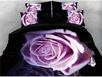 Attractive Light Purple Rose Printed 4-Piece 3D Bedding Sets/Duvet Covers