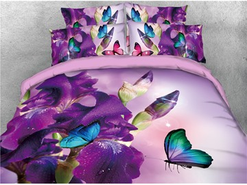 Fresh Purple Iris and Butterflies Floral Printed 4-Piece 3D Bedding Sets/Duvet Covers
