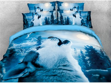 Wolf and Moon Night Blue Printed 4-Piece Cotton 3D Bedding Sets/Duvet Covers