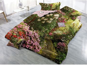 A Path Full of Flowers Printed Cotton 4-Piece 3D Bedding Sets/Duvet Covers