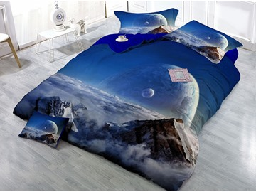 Earth and Mountain Cloud Scenery Printed Cotton 4-Piece 3D Bedding Sets/Duvet Covers