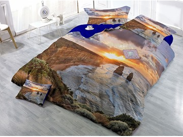 River and Sunset Scenery Printed Cotton 4-Piece 3D Bedding Sets/Duvet Covers