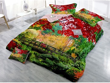 Red Maple Leaves Green Plants Printed Cotton 4-Piece 3D Bedding Sets/Duvet Covers