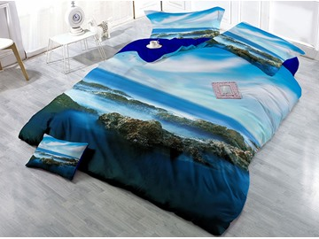 Mountain and Blue Sky Natural Scenery Printed Cotton 4-Piece 3D Bedding Sets/Duvet Covers