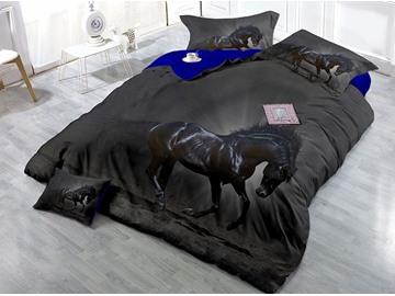 Black Horse Printed Cotton 4-Piece 3D Bedding Sets/Duvet Covers