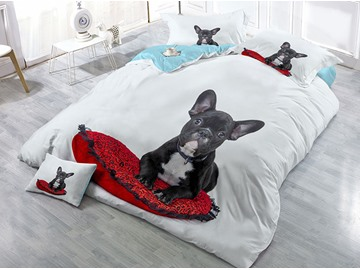 Black Dog and Red Heart-shaped Pillow Printed 4-Piece 3D Bedding Sets/Duvet Covers