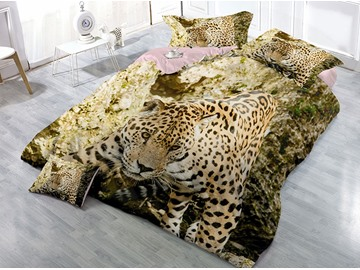 Leopard Digital Printed Cotton 4-Piece 3D Bedding Sets/Duvet Covers