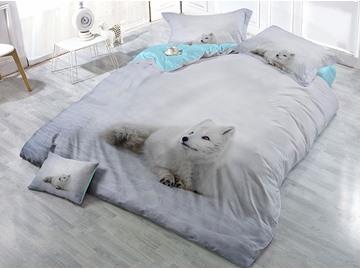 White Fox Printed Cotton 4-Piece 3D Bedding Sets/Duvet Covers