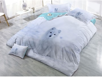 A Sitting White Fox Printed Cotton 4-Piece 3D Bedding Sets/Duvet Covers