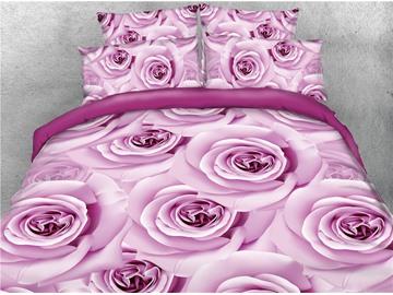 Light Purple Roses Printed Cotton 4-Piece 3D Bedding Sets/Duvet Covers