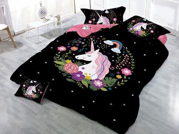 Sleepwish Unicorn and Flower Printing 3D 4-Piece Black Bedding Sets/Duvet Covers