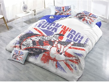 Guitar Rock N Roll Printed 4-Piece 3D Bedding Sets/Duvet Covers