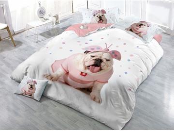 Shar Pei Printing 4-Piece 3D White Bedding Sets/Duvet Covers
