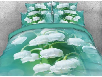 Fresh White Flower Printed 4-Piece 3D Green Bedding Sets/Duvet Covers