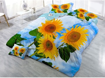 Vigorous Sunflower and Blue Sky Printed Cotton 4-Piece 3D Bedding Sets/Duvet Covers