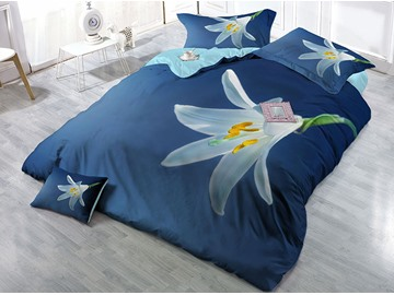 White Flower Printed Cotton 4-Piece 3D Blue Bedding Sets/Duvet Covers