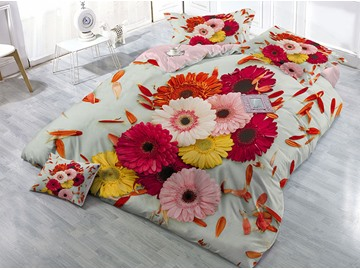 Multi Color Daisies Printed Cotton 4-Piece 3D Bedding Sets/Duvet Covers