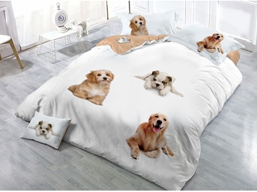Sitting Dogs Printed 4-Piece 3D White Bedding Sets/Duvet Covers