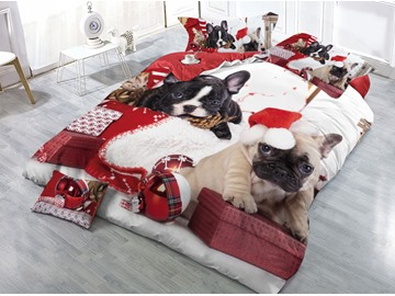 Two Dogs and Christmas Presents Printed 4-Piece 3D Bedding Sets/Duvet Covers