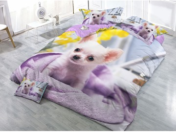 Innocent Dog Printed 4-Piece 3D Purple Bedding Sets/Duvet Covers