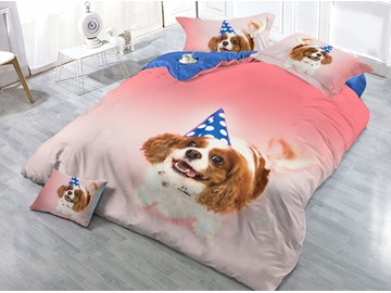 Lovely Dog Printed 4-Piece 3D Pink Bedding Sets/Duvet Covers