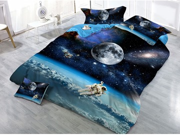 Astronaut and Outer Space Galaxy Printed 3D 4-Piece Bedding Sets/Duvet Covers