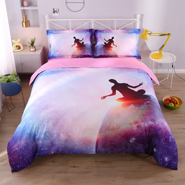 Human and Planet Printed 3D 4-Piece Bedding Sets/Duvet Covers