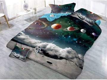 Astronaut and Celestial Planet Universe Galaxy Printed 3D 4-Piece Bedding Sets/Duvet Covers