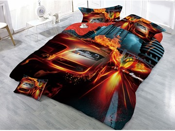 Sports Car and Fire Printed 4-Piece 3D Bedding Sets/Duvet Covers
