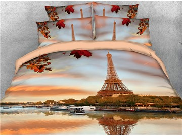 Eiffel Tower and River Natural Scenery Printed 4-Piece 3D Bedding Sets/Duvet Covers