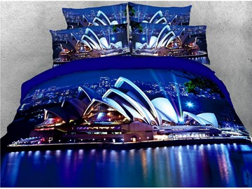 Sydney Opera House under Urban Nightscape Printed 4-Piece 3D Bedding Sets/Duvet Covers