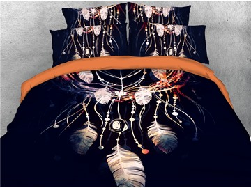 A Nice Night Dream Catcher Printed Black Printed 4-Piece 3D Bedding Sets/Duvet Covers