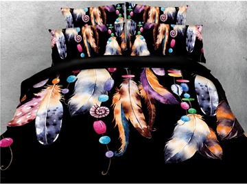 Chic Dreamcatcher Feathers Pattern Printed 4-Piece 3D Bedding Sets/Duvet Covers