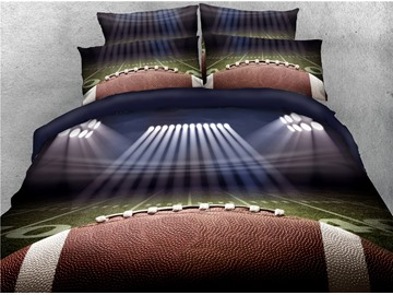 Rugby and Spotlight Playing Field Printed 4-Piece 3D Bedding Sets/Duvet Covers