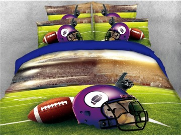 Rugby Helmet and Playing Field Printed 4-Piece 3D Baseball Bedding Sets/Duvet Covers
