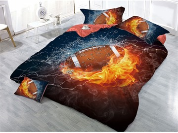 Fire and Ice Brown Ball Flames Rugby Printed 4-Piece 3D Bedding Sets/Duvet Covers