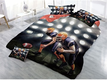 Rugby Players and Spotlight Printed 4-Piece 3D Bedding Sets/Duvet Covers