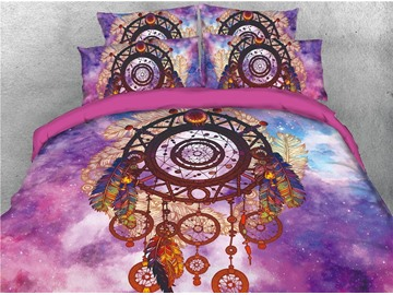 Dream Catcher Feather and Galaxy Printed 4-Piece 3D Bedding Sets/Duvet Covers
