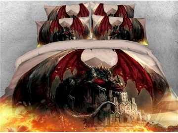 Dragon with Wings and Castle Fire Printed 4-Piece 3D Bedding Sets/Duvet Covers