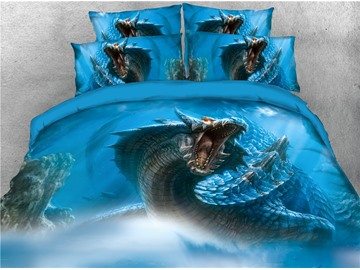 Powerful Blue Fly Dragon Printed 4-Piece 3D Bedding Sets/Duvet Covers
